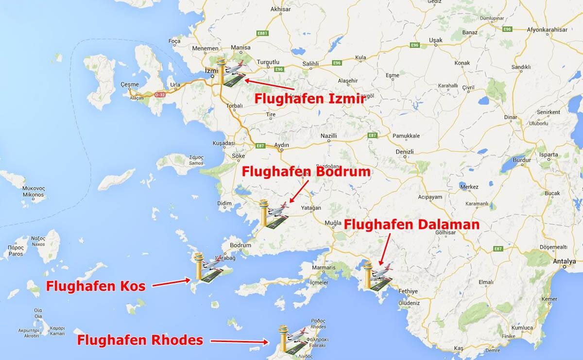 Rhodos Karte Flughafen.Türkei Gulet Urlaub Mit Dem Flugzeug Zu Einer Blauen Reise In Die